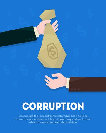 Corruption Banner Template, Businessman Hand Giving Money Bag to Another Hand Vector Illustration Illustration