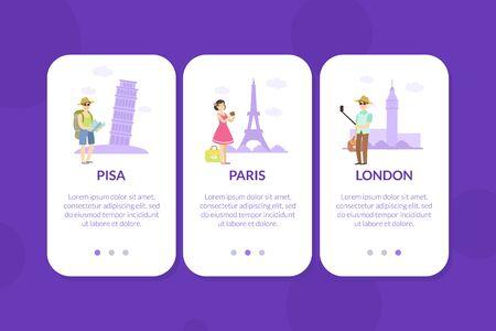 Pisa, Paris, London, Mobile App Page Onboard Screen Set, Website or Web Page Vector Illustration Çizim