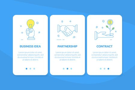 Business Idea, Partnership, Contract Mobile App Page Onboard Screen Set, Website or Web Page Vector Illustration