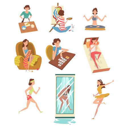 Women Daily Activities Set, Girl Cooking, Painting, Meditating, Knitting, Playing Solitaire, Reading, Running, Dancing Vector Illustration
