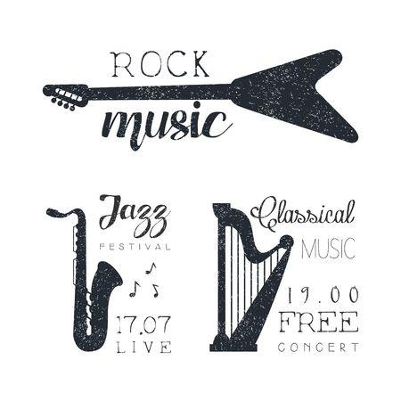 Classical Music Free Concert, Jazz Festival, Rock Music Hand Drawn Grunge Vector Illustration