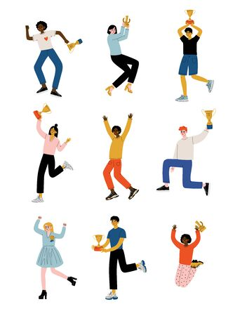Young People with Winner Cups Set, Happy Positive Men and Women Celebrating and Rejoicing Victory, Successful People Concept Vector Illustration