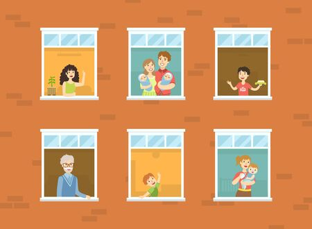 People Looking Out of Windows Set, Neighbors in Their Apartments Greeting Through the Windows Vector Illustration Archivio Fotografico - 130642049