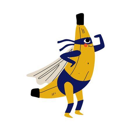 Plátano de superhéroe lindo en máscara y capa, personaje de dibujos animados de frutas divertidas en la ilustración de Vector de vestuario