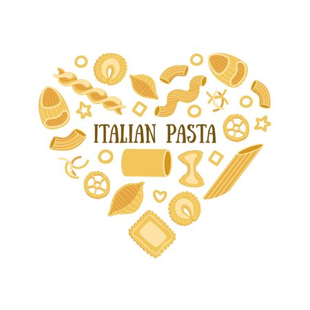 Italian Pasta Banner Template with Different Types of Traditional Pasta in Heart Shape, Can Be Used for Card, Menu, Packaging, Flyer, Certificate Vector Illustration