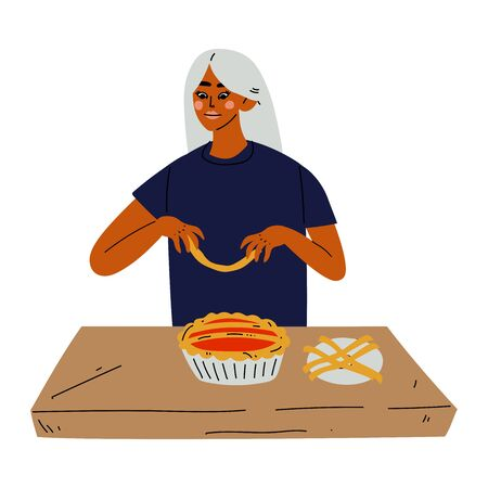 Young Woman Baking Pie, Girl Cooking in the Kitchen Vector Illustration Illustration