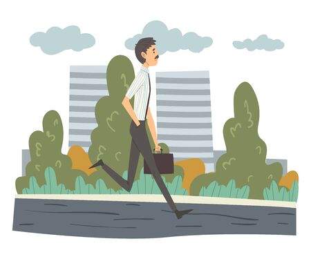 Man Walking with Briefcase, Businessman Going to Office, Man in Everyday Life, Daily Routine Vector Illustration in Cartoon Style.