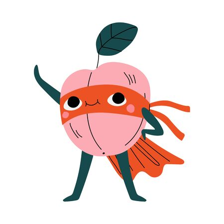 Cute Superhero Peach in Mask and Cape, Funny Fruit Cartoon Character in Costume Vector Illustration Illustration