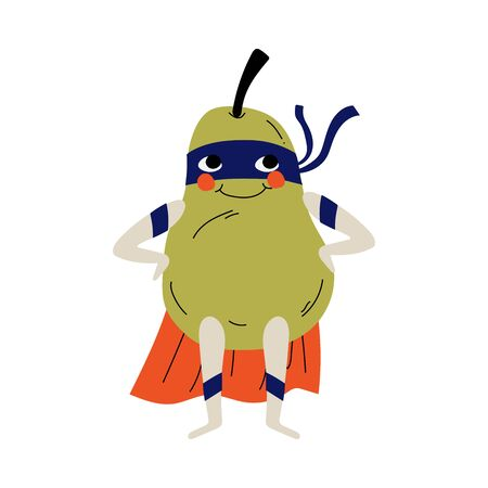Cute Superhero Pear in Mask and Cape, Funny Fruit Cartoon Character in Costume Vector Illustration
