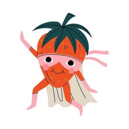 Cute Superhero Strawberry in Mask and Cape, Funny Berry Cartoon Character in Costume Vector Illustration