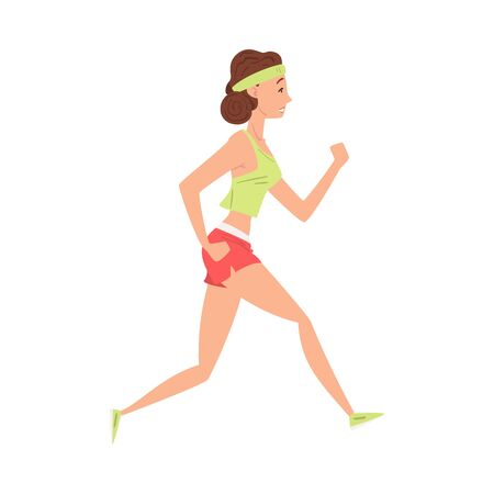 Young Woman Doing Morning Workout, Girl Running in Sports Uniform, Woman in Everyday Life, Daily Routine Vector Illustration