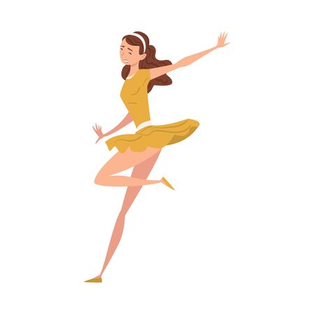 Girl Dancing Wearing Short Dress, Young Woman in Everyday Life Vector Illustration