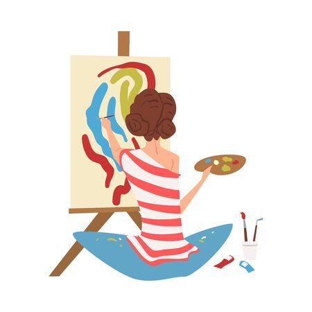 Female Artist Character Drawing on Easel with Paints, Young Woman in Everyday Life, Craft Hobby or Profession Vector Illustration Standard-Bild - 130642060