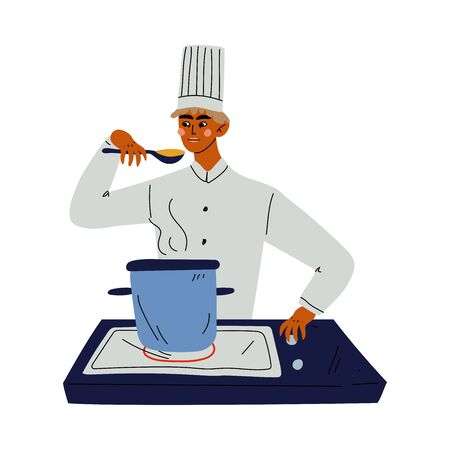 Professional Chef Cooking Soup, Kitchener Character Wearing Classic Traditional White Uniform Working in Restaurant or Cafe Vector Illustration on White Background
