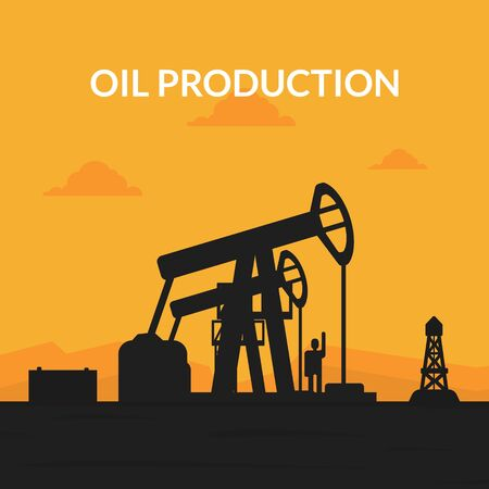 Oil Production Banner Template, Pumpjack Oil Rig Crane Platform Silhouette at Sunset Vector Illustration