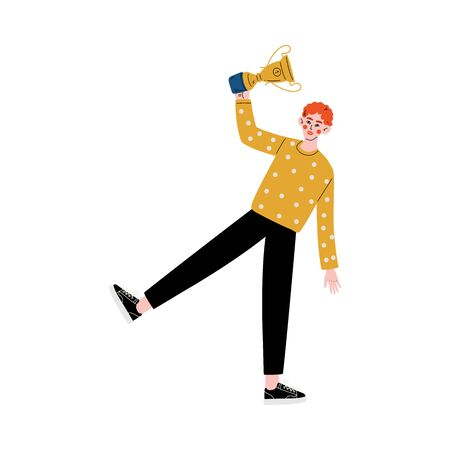 Young Man with Winner Cup, Happy Guy Celebrating and Rejoicing Victory, Successful People Concept Vector Illustration Illustration