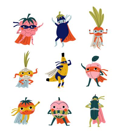 Cute Superhero Fruits and Vegetables in Masks and Capes Set, Funny Humanized Cartoon Characters in Costumes Vector Illustration