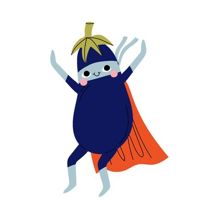 Cute Superhero Eggplant in Mask and Cape, Funny Vegetable Cartoon Character in Costume Vector Illustration Illustration