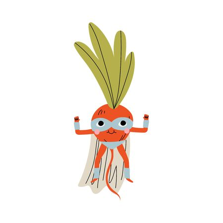 Cute Superhero Radish in Mask and Cape, Funny Vegetable Cartoon Character in Costume Vector Illustration Illustration