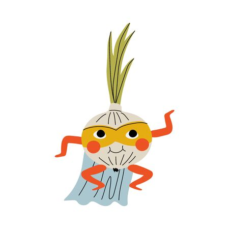 Cute Superhero Onion in Mask and Cape, Funny Vegetable Cartoon Character in Costume Vector Illustration Illustration