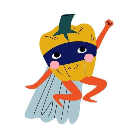 Cute Superhero Pepper in Mask and Cape, Funny Vegetable Cartoon Character in Costume Vector Illustration Illustration
