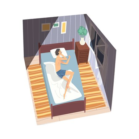 Man Sleeping on His Side in His Bed at Night, View from Above, Man in Everyday Life, Daily Routine Vector Illustration