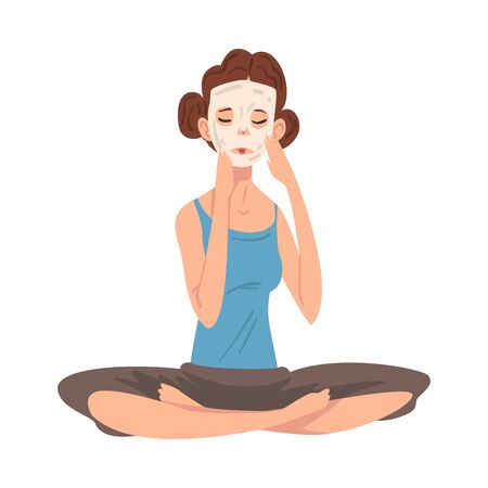 Girl Applying Mask on Her Face Caring for Herself, Young Woman in Everyday Life, Daily Routine Vector Illustration on White Background. 일러스트
