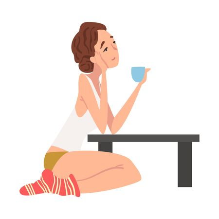 Dreaming Romantic Girl Sitting on the Floor at Coffee Table with Cup of Tea, Young Woman in Everyday Life, Daily Routine Vector Illustration