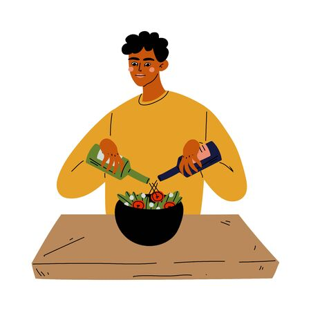 Young Man Cooking Salad in the Kitchen Vector Illustration
