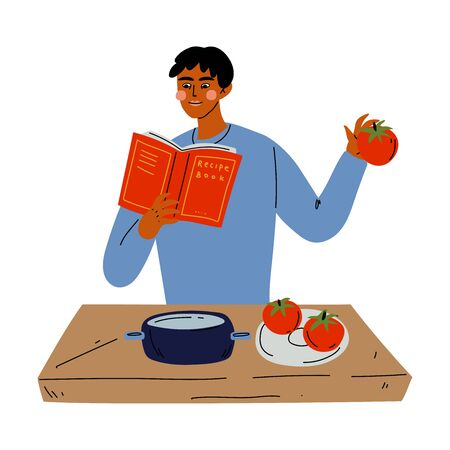 Young Man Reading Book of Recipes and Cooking in the Kitchen Vector Illustration