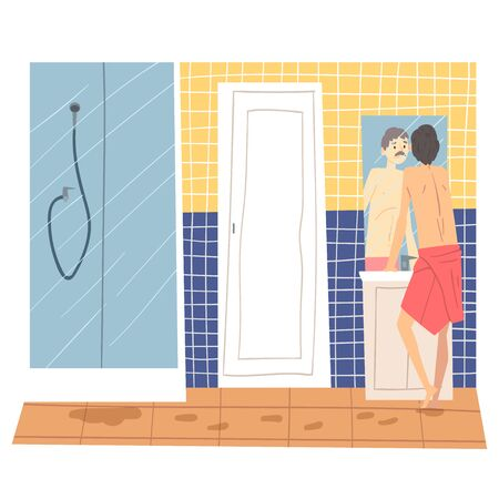 Man Standing in Front of Mirror in Bathroom, Man in Everyday Life, Morning Routine Vector Illustration in Cartoon Style. Standard-Bild - 130225460