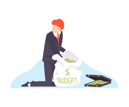 Vector illustration of corrupt politician taking money from the budget