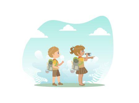 Cute Kids in Explorer Outfit Hiking, Girl Looking Through Binoculars Vector Illustration