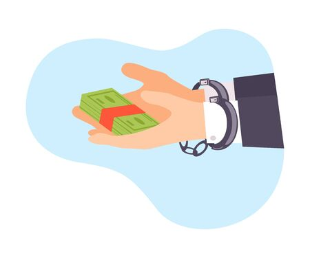 Vector Illustration hands handcuffed holding money isolated on white background Stock Vector - 130642204