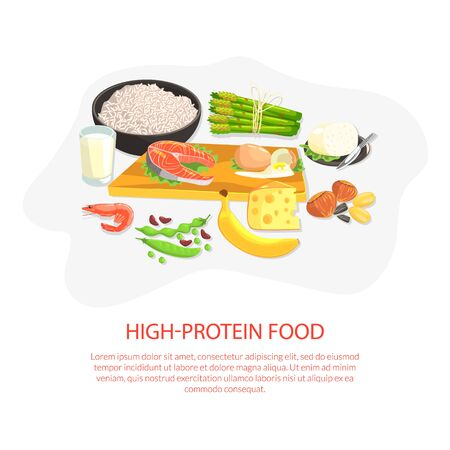 High Protein Food Banner Template, Nutrition and Wholesome Products for Cooking and Eating Vector Illustration