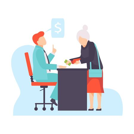 Character receiving bribe money. Vector illustration of bribery concept. Illustration