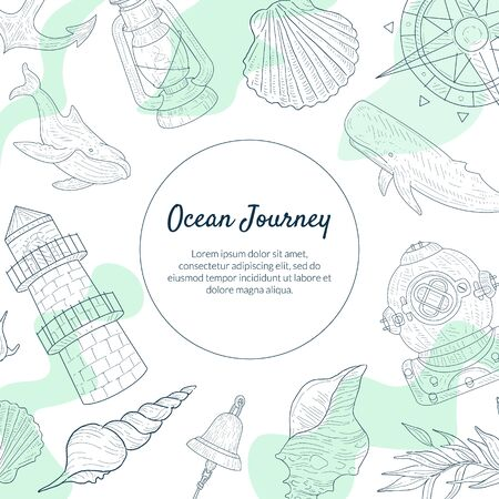 Ocean Journey Banner Template, Sea Travel Hand Drawn Poster with Marine Elements Monochrome Vector Illustration Çizim