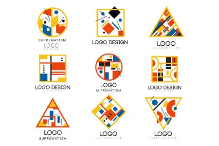 Suprematism design set, abstract creative geometric templates can be used for brand identity, advertising, poster, banner, flyer, web, app vector Illustrations on a white background
