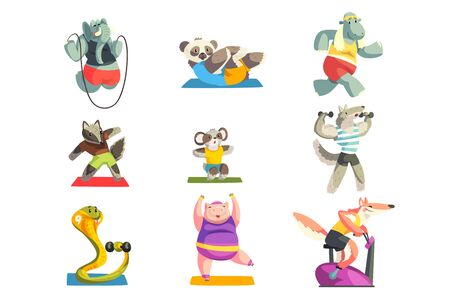 Cute animals wearing uniform doing exercises using sports equipment set, sportive animal characters, fitness and healthy lifestyle vector Illustrations isolated on a white background.