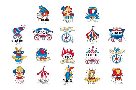 Circus logo design set, colorful emblems for amusement park, festival, party, creative template of flyear, posters, cover, banner, invitation hand drawn vector Illustrations on a white background