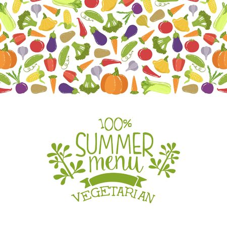 Summer Vegetarian Menu Banner Template With Fresh Organic Vegetables Seamless Pattern Vector Illustration Çizim
