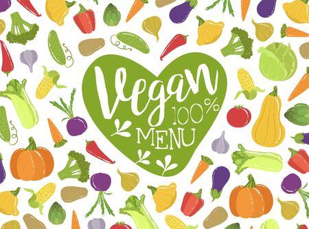 Vegan Menu Banner Template With Fresh Organic Vegetables Seamless Pattern, Helthy Vegetarian Food Vector Illustration