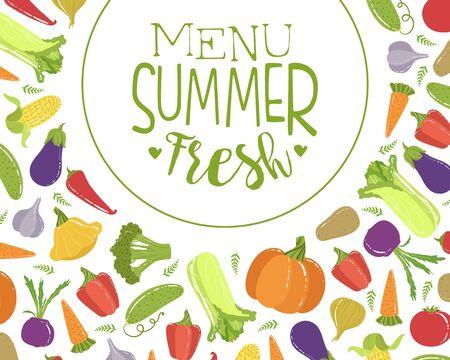 Fresh Summer Menu Banner Template With Organic Vegetables Seamless Pattern, Helthy Vegetarian Food Vector Illustration Çizim