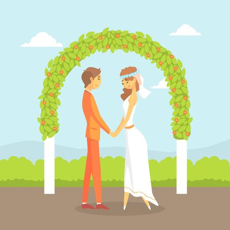 Wedding Ceremony, Happy Couple of Newlyweds Standing Behind the Floral Arch Vector Illustration