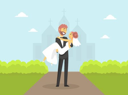 Happy Romantic Just Married Couple Characters, Groom Holding Bride in His Arms After Wedding Ceremony on Summer Natural Landscape Vector Illustration, Flat Style.