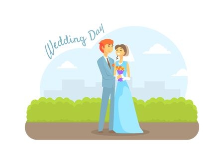 Wedding Day, Happy Just Married Couple, Romantic Bride and Groom Characters on Summer Natural Landscape Vector Illustration