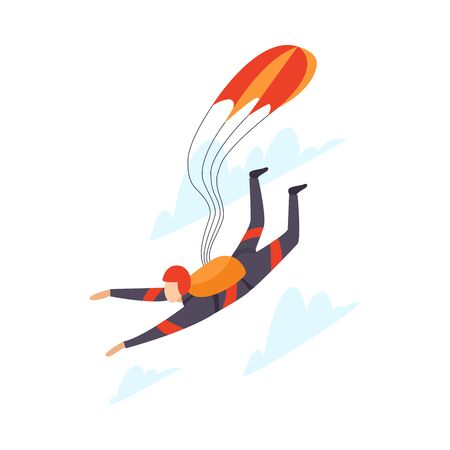 Parachutist skydiving vector illustration isolated on white background.