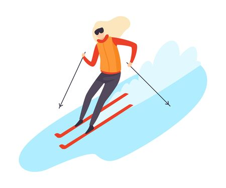 Women skiing down the hill flat vector illustration  イラスト・ベクター素材