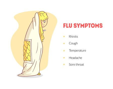 Flu Symptoms Banner Template, Unhealthy Boy Wrapping In a Blanket with Temperature, Headache, Rhinitis Vector Illustration
