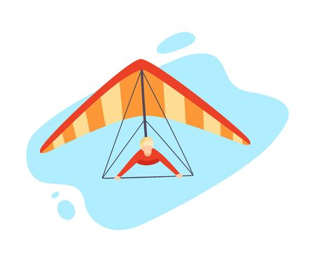 Hang gliding character vector illustration isolated on white background. Illustration